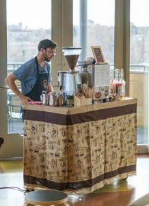 barista guy at event 218x300 - Welcome - The Funky Brewster Coffee Catering