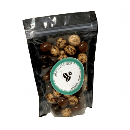chocolate covered espresso beans white 416x416 - Concentric Coffee Chocolate Covered Espresso Beans - 8 oz - The Funky Brewster Coffee Catering
