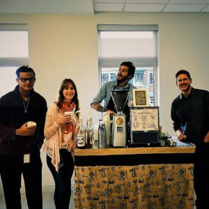coffee cart and barista with customers 300x300 - Photo Gallery - The Funky Brewster Coffee Catering