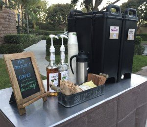 coffee cart apartment resident appreciation event coffee to go cambros 300x259 - Coffee On-The-Go - Orange County - The Funky Brewster Coffee Catering
