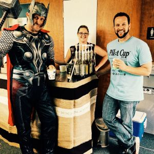 coffee cart barista with thor and holiday event 300x300 - Photo Gallery - The Funky Brewster Coffee Catering