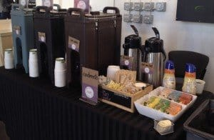 coffee cart in office with to go beverages 300x196 - Coffee On-The-Go - Orange County - The Funky Brewster Coffee Catering