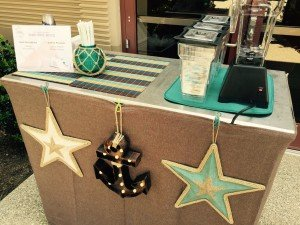 coffee cart nautical theme decor 300x225 - Our Carts - The Funky Brewster Coffee Catering
