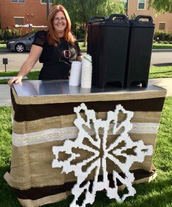 coffee cart winter theme decor with coffee to go cambro 250x300 - Hot Chocolate Bar Catering - The Funky Brewster Coffee Catering