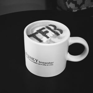 coffee mug with tfb latte art 300x300 - Photo Gallery - The Funky Brewster Coffee Catering