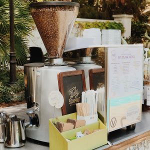 espresso cart set up with whole bean grinder 300x300 - Photo Gallery - The Funky Brewster Coffee Catering