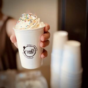 hot chocolate with sprinkles and cups 300x300 - Hot Chocolate Carts - The Funky Brewster Coffee Catering