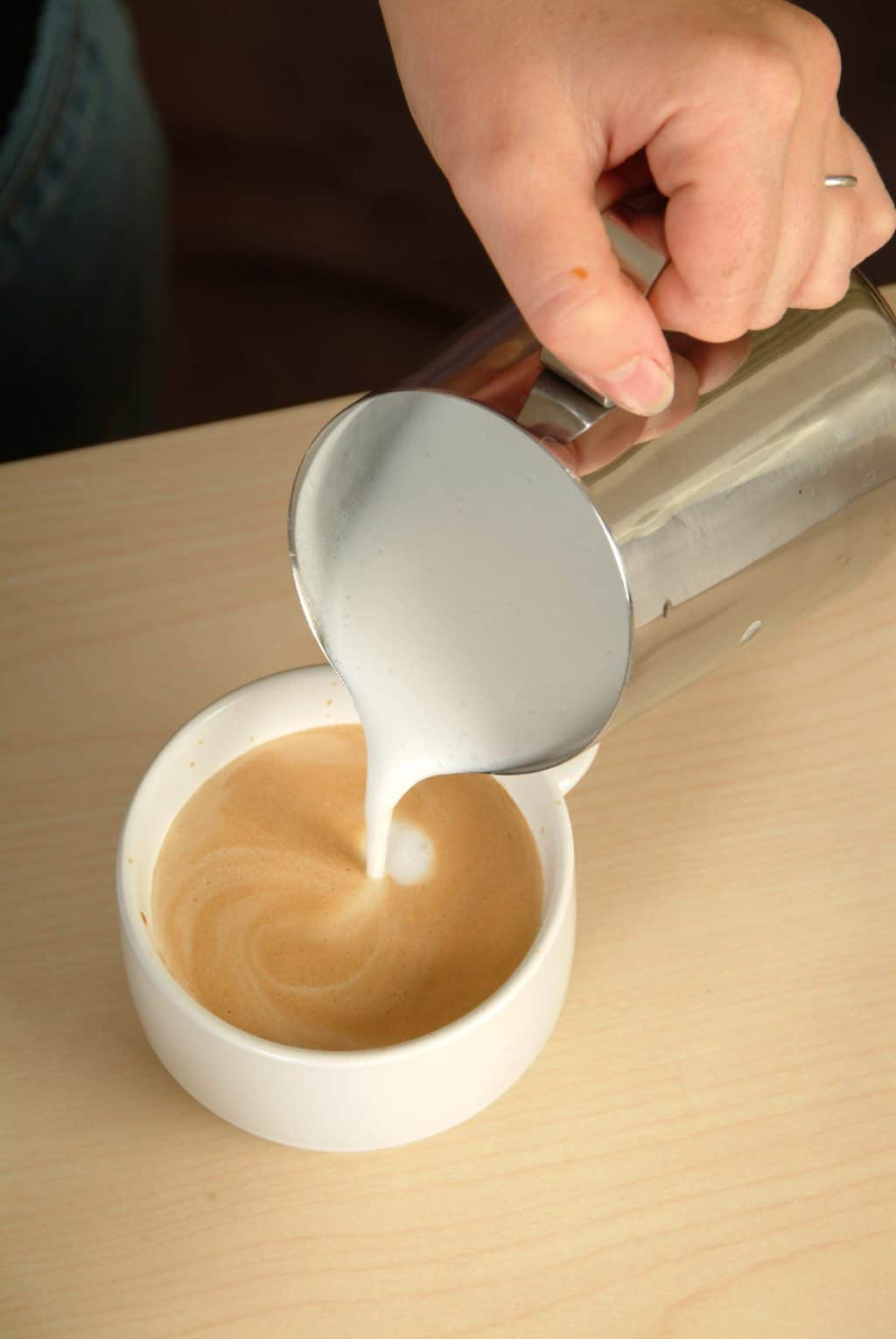 latte art foam pouring - latte-art-foam-pouring - The Funky Brewster Coffee Catering