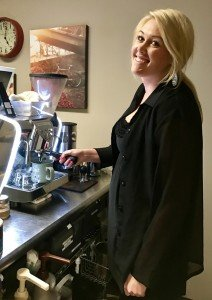 tiffany denver barista pulling espresso shots 212x300 - Our Carts - The Funky Brewster Coffee Catering